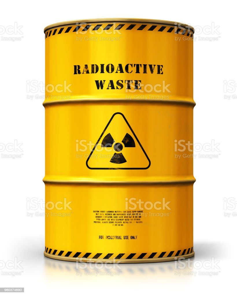 Yellow drum with radioactive waste isolated on white background stock photo