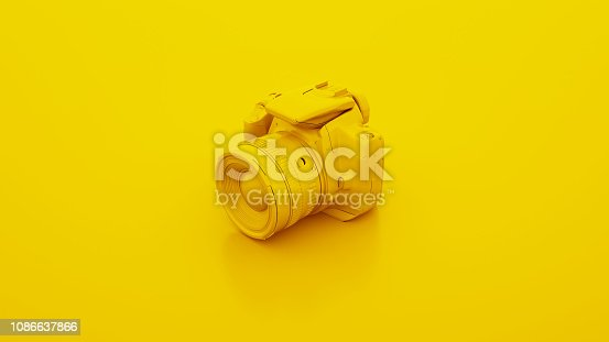 Yellow DSLR Camera. 3D illustration.