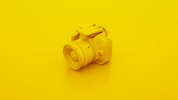 gele dslr camera. 3d illustratie - camera stockfoto's en -beelden