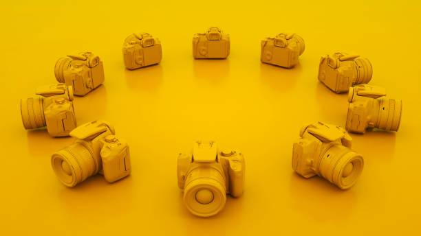 노란색 dslr 카메라. 3d 일러스트레이션 - 미디어 장비 뉴스 사진 이미지