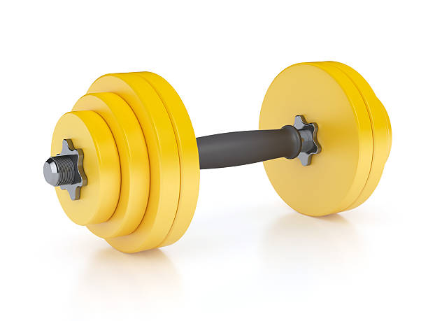 yellow dumbbell - dumbbell stock pictures, royalty-free photos & images