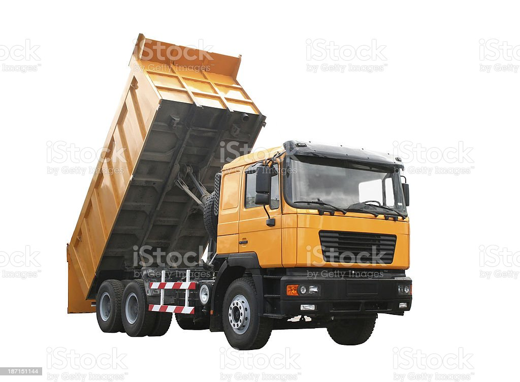 Yellow dump truck stock photo