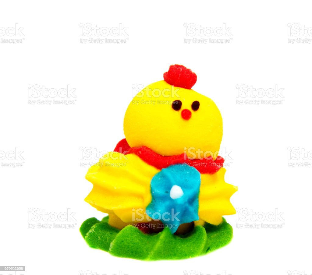 Yellow Easter Chicken decoration on a plain background royalty-free stock photo