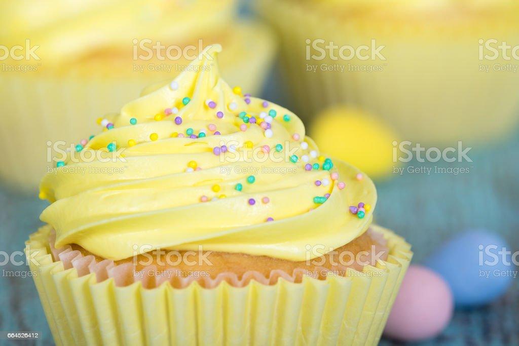 Yellow Easter cupcake closeup royalty-free stock photo