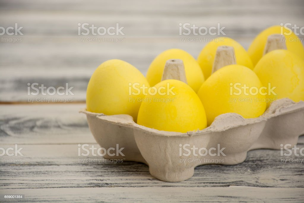 Yellow easter eggs royalty-free stock photo