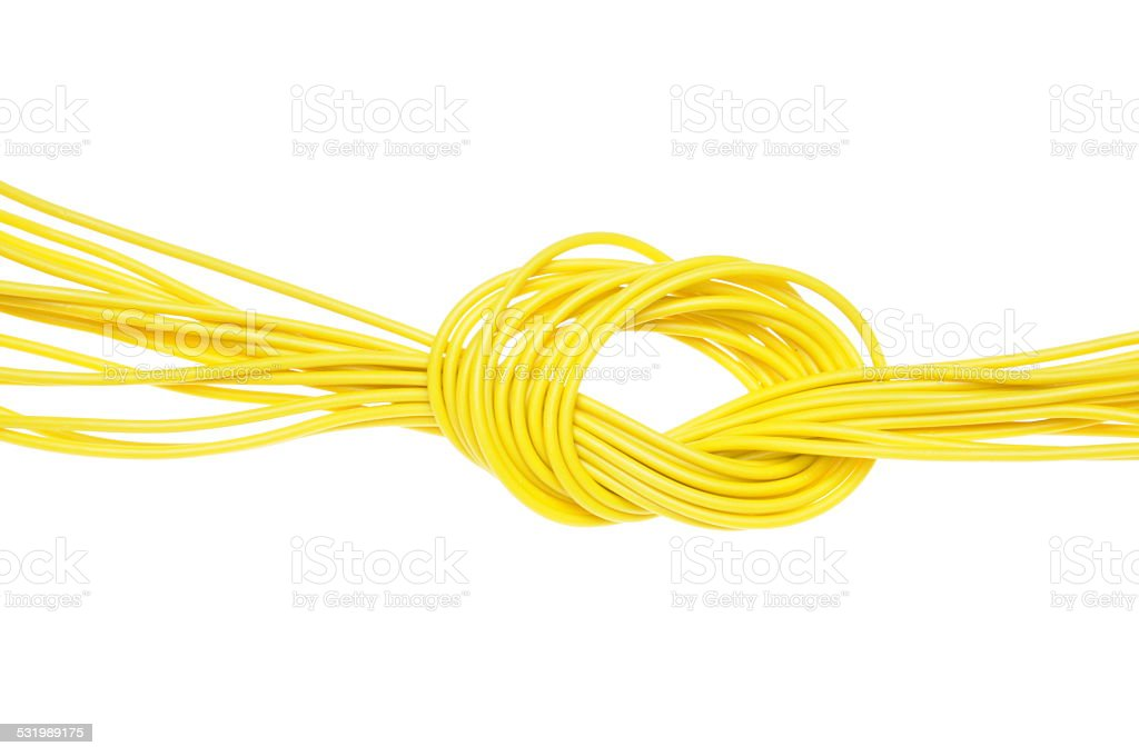 Yellow electrical cable stock photo