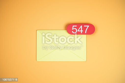 547 yellow email icons on orange background. Communication and app concept. 3D Rendering