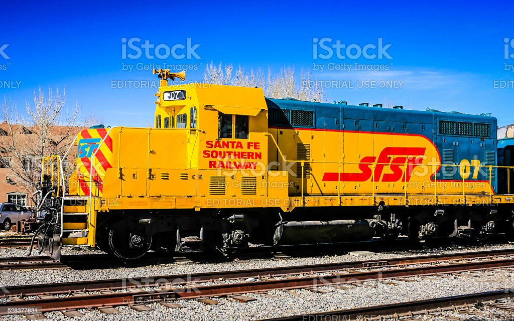 Yellow EMD FP45 locomotive of the Santa Fe Railroad NM stock photo