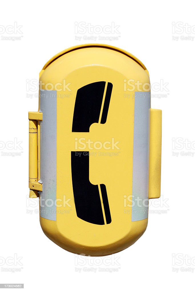 Yellow Emergency Phone Box Isolated on White Background royalty-free stock photo