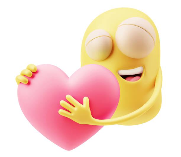 gelbe emoticon ausdruck - emoticon hug stock-fotos und bilder