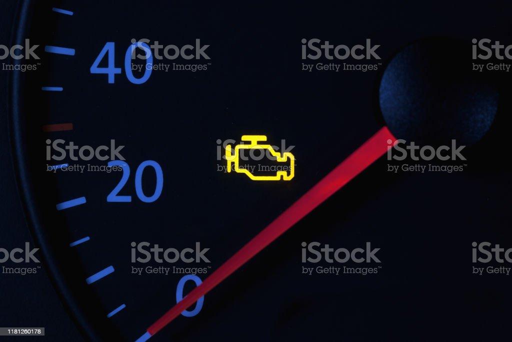 Yellow Engine Check Engine Icon On Car Dashboard Black ...