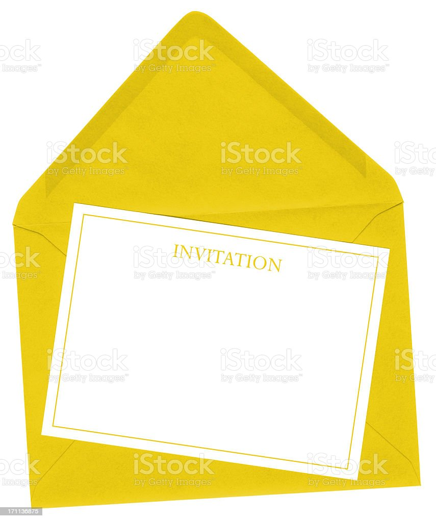 Yellow envelope and invitation card royalty-free stock photo