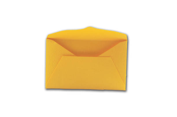 Yellow envelope opened ,isolated on white stock photo