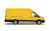 Side view of a yellow European van, ready for branding, on white background