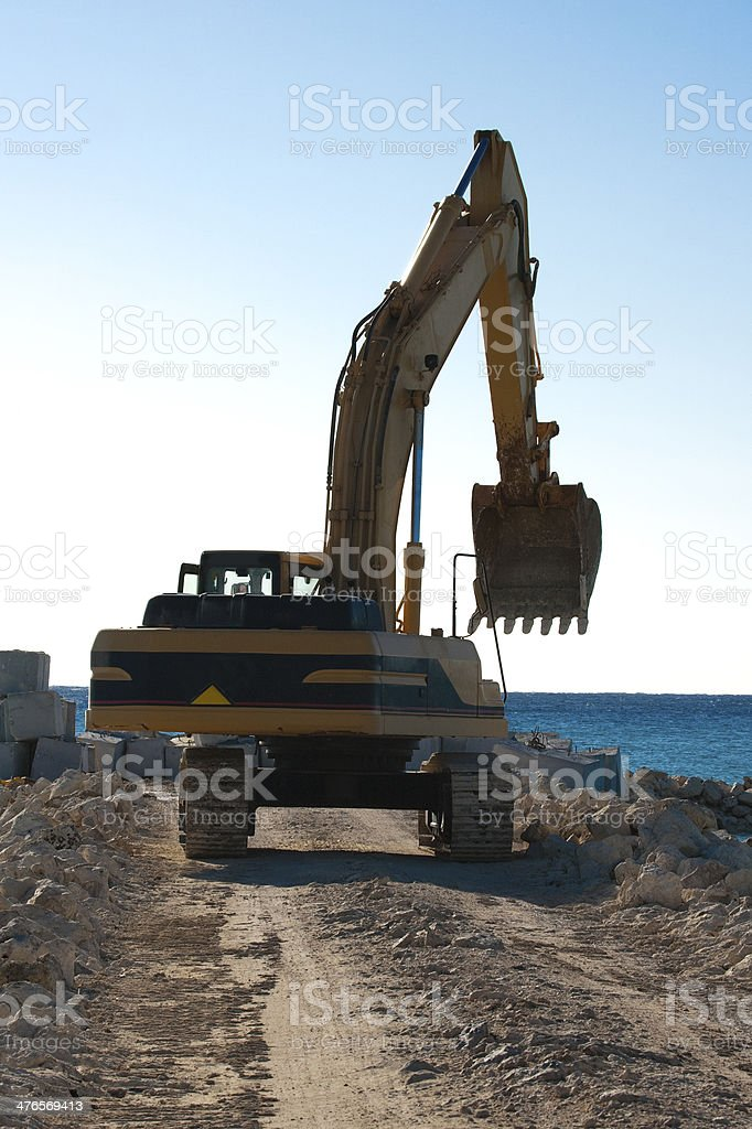 Yellow Excavator at Work royalty-free stock photo