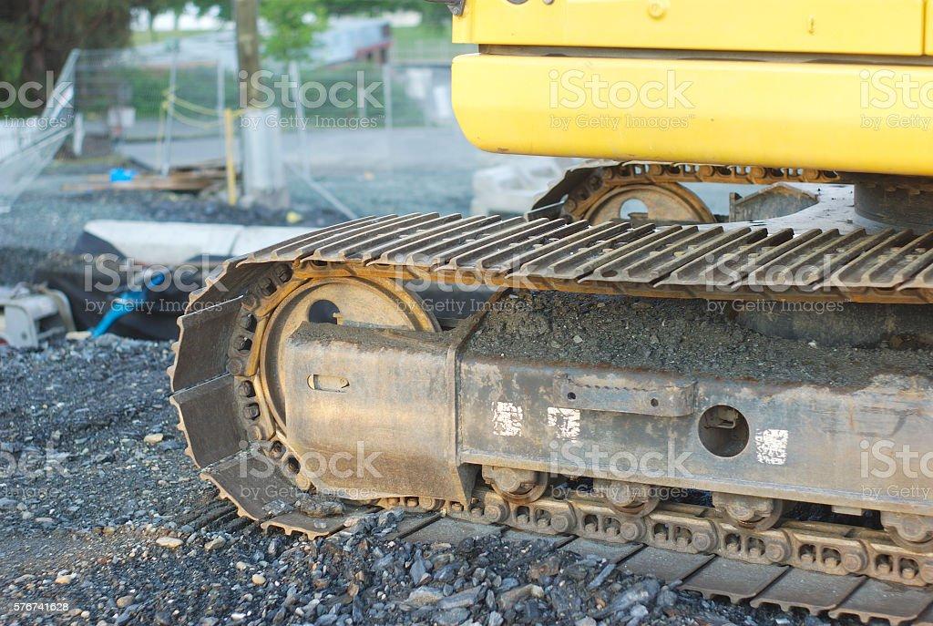 yellow excavator closeup construction site heavy tools bulldozer machine stock photo