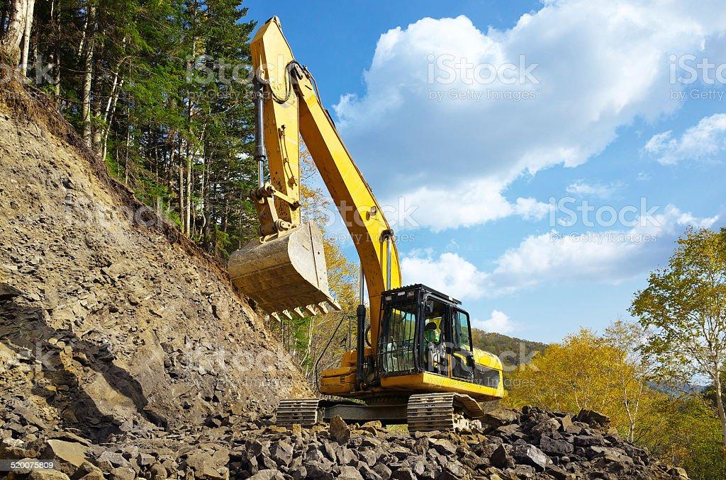 Amarelo excavator som - foto de acervo