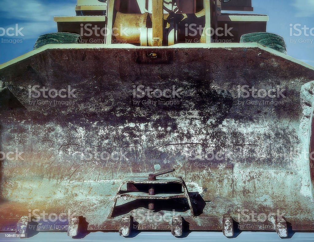 Yellow Excavator Front View. Close-Up. stock photo