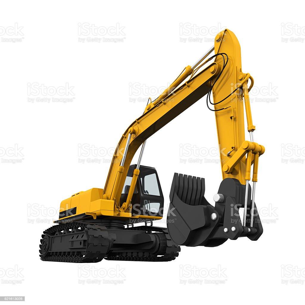 Gelbe Excavator Isoliert – Foto