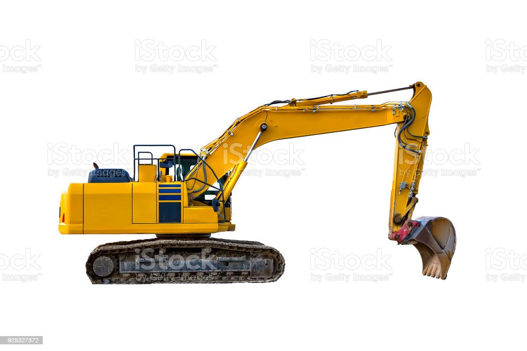 Yellow excavator,  isolated stock photo