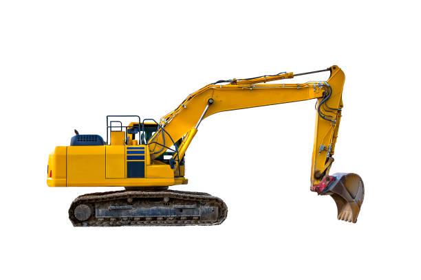 gula grävmaskin, isolerade - excavator bildbanksfoton och bilder