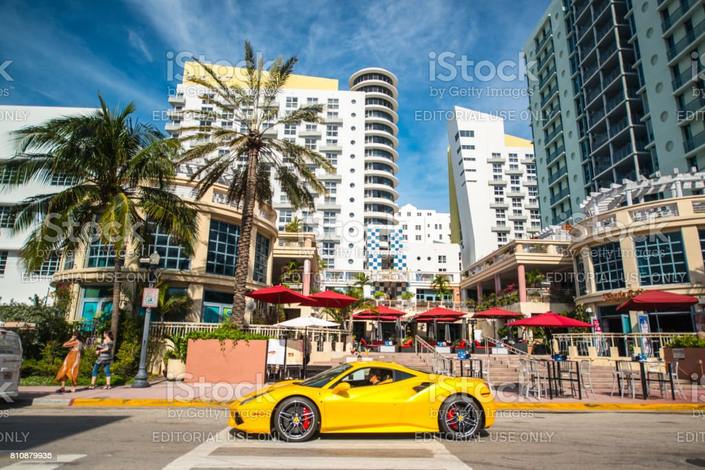 Yellow Ferrari on South Beach, Miami Beach, USA