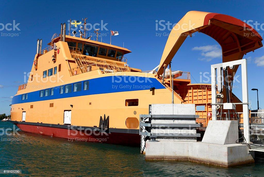Yellow ferry stock photo