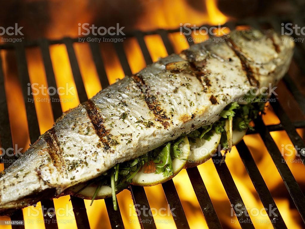 Yellow Fin Fish on BBQ stock photo