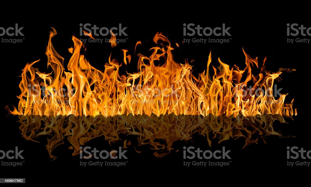 yellow fire long strip with reflection isolated on black stock photo