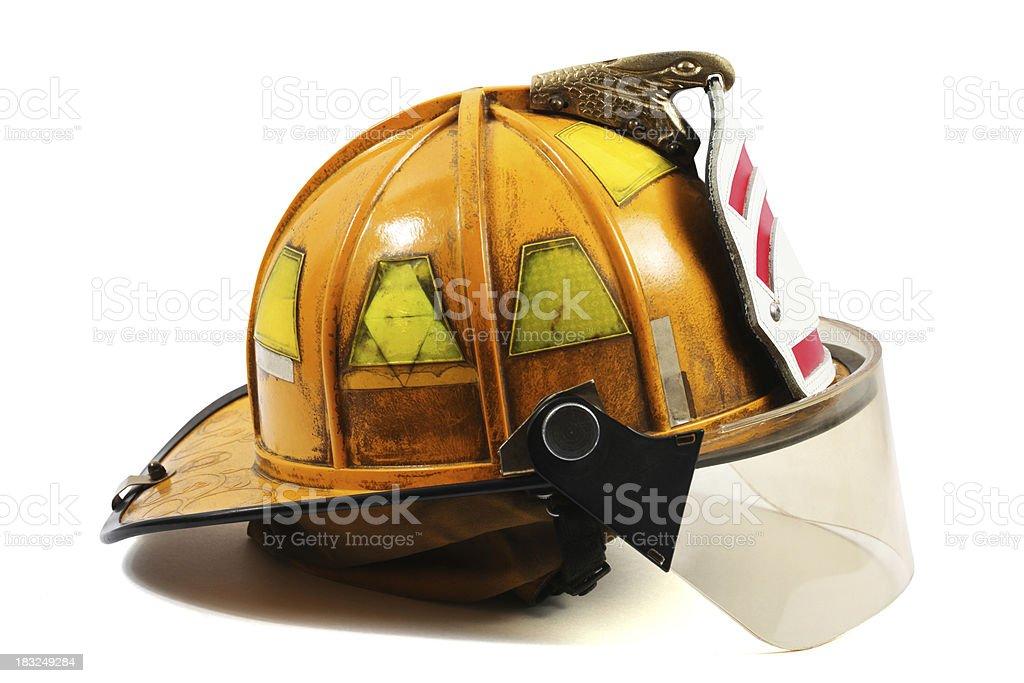 Yellow Firefighter's helmet stock photo