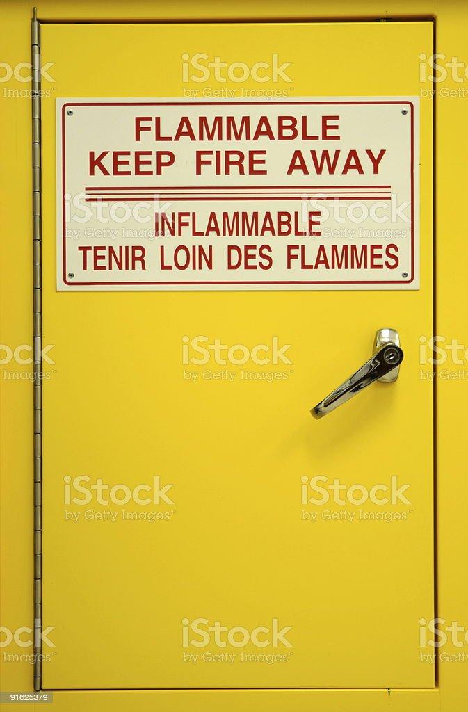 Yellow fireproof safety cabinet with metal handle in lab. stock photo