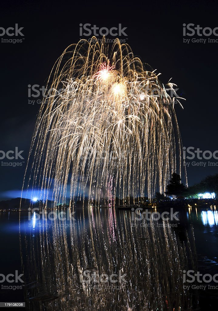 Yellow fireworks royalty-free stock photo
