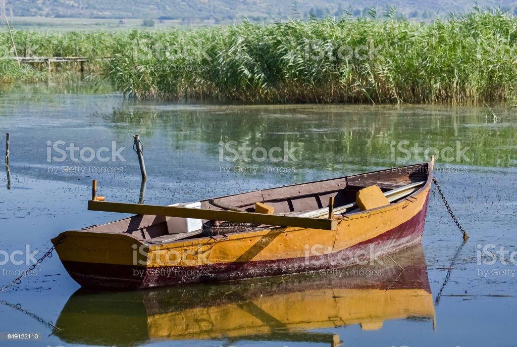 Yellow fishing boat stock photo