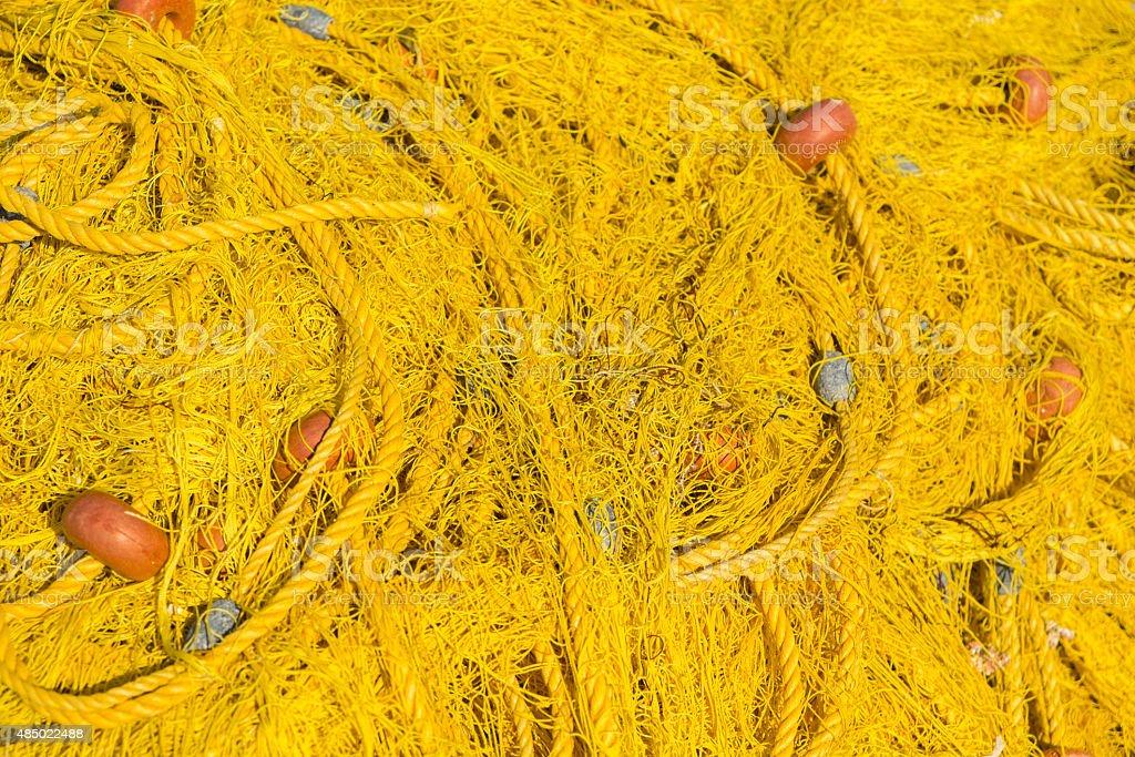 Yellow fishing net stock photo