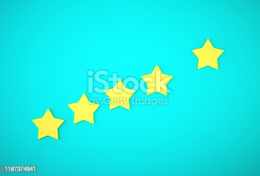 istock Yellow five star symbol on blue background. The best excellent business services rating customer experience concept. 1167374941