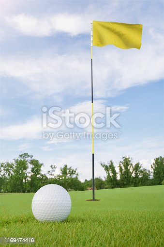 Yellow flag on golf course putting green with a ball near the hole
