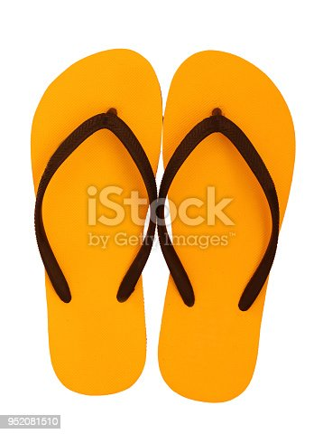 istock Yellow flip flops isolated on white background. (clipping path) 952081510
