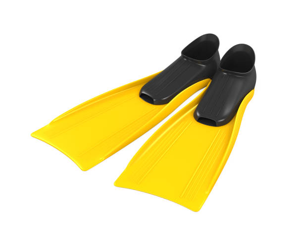 Yellow Flippers Isolated Yellow Flippers isolated on white background. 3D render diving flipper stock pictures, royalty-free photos & images