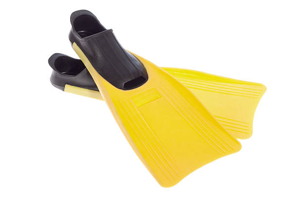 Yellow Flippers Yellow Flippers isolated on the white background diving flipper stock pictures, royalty-free photos & images