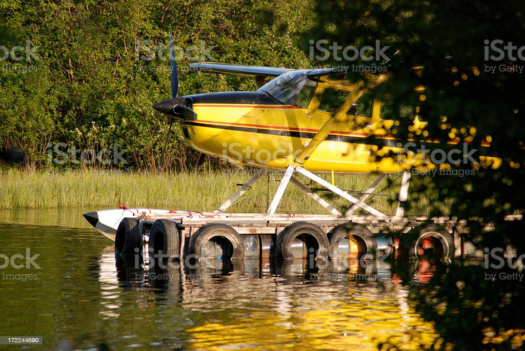 Yellow Float Plane royalty-free stock photo