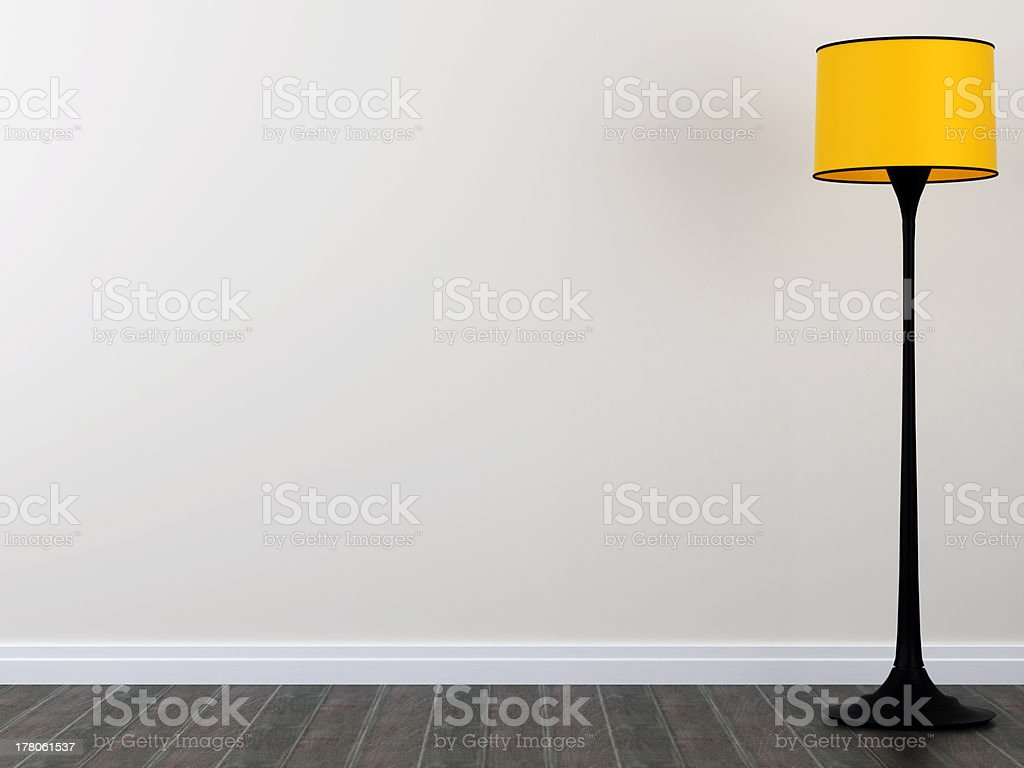 Yellow floor lamp stock photo