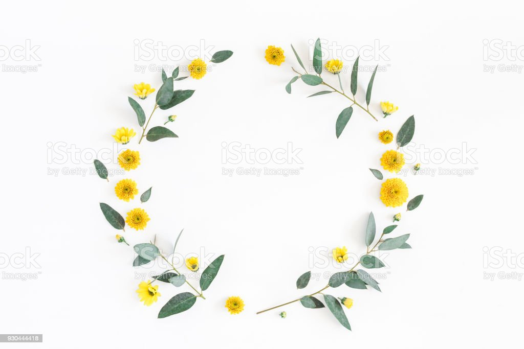Yellow Flowers And Eucalyptus Branches Flat Lay Top View Stock Photo