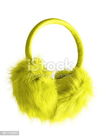 Yellow fluffy furry earmuffs isolated on white