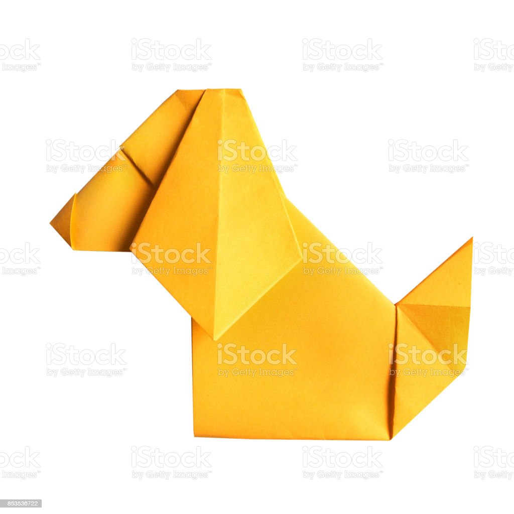 Yellow Folded Paper Origami Sitting Cartoon Dog On White