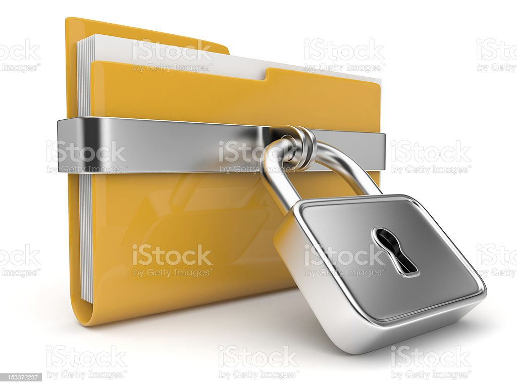 Yellow folder with lock stock photo
