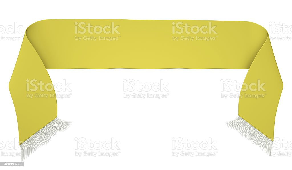 Yellow football scarf against white background stock photo