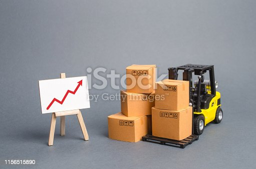 istock Yellow Forklift truck with cardboard boxes and a red arrow up. Increase sales, production of goods. Improving consumer sentiment, Acceleration of economic growth, business promotion on foreign markets 1156515890