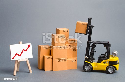 istock Yellow Forklift truck with cardboard boxes and a red arrow up. Increase sales, production of goods. Improving consumer sentiment, Production growth, business promotion on foreign markets. 1156515974