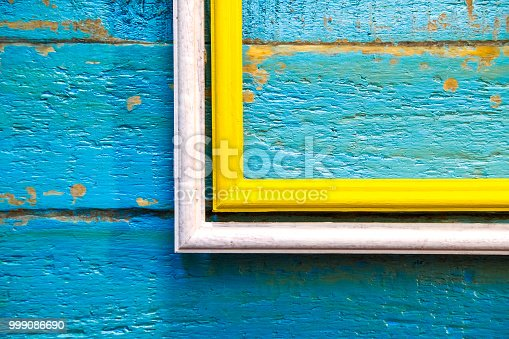 istock yellow frame inside a white frame for photos and images with a blank space inside 999086690