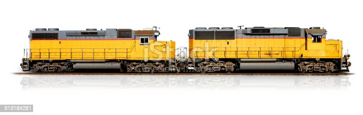 Yellow freight train isolated on white (Clipping path)